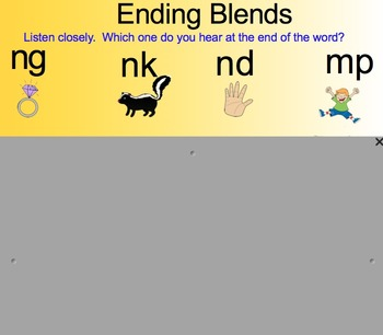 Phonics Smartboard Lesson: ending blends ng, nd, mp, nk