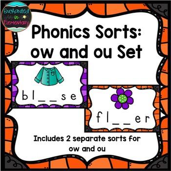 Phonics Sort: ow and ou Set