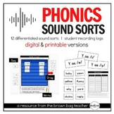 Phonics Sound Sorts: 12 Differentiated Sorts (Print & Digital),Distance Learning