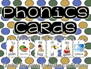 Phonics Sound Cards (Matches Star Wars Theme Blue Polka Dot)