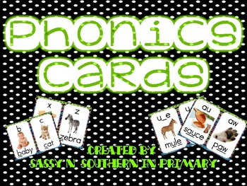 Phonics Sound Cards with Black Polka Dot Border