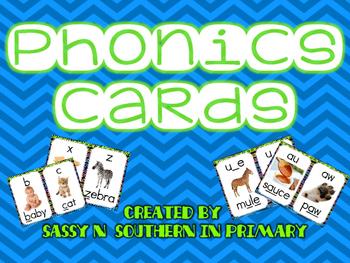 Phonics Sound Cards with Bright Blue Chevron Border