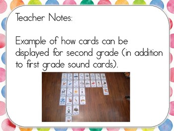 Phonics Sound Cards with Rainbow Water Color Border