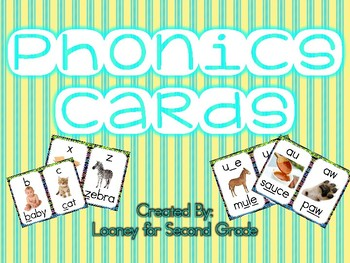Phonics Sound Cards with Yellow and Blue Striped Border