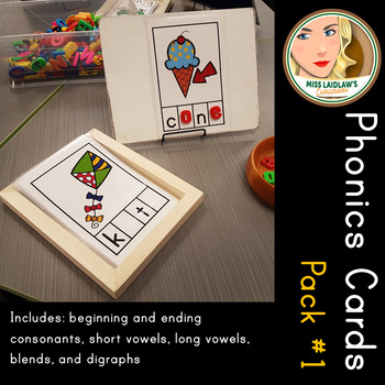 Phonics Cards Set 1 - Consonants, Short and Long Vowels, Digraphs, Blends