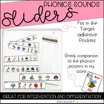 Phonics Sounds Sliders: Use with Rectangular Adhesive Pockets