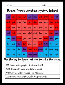 Phonics Sounds Valentines Mystery Picture