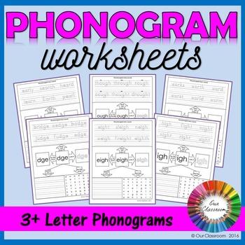 Spalding Phonogram Worksheets (3+ Letter Phonograms)