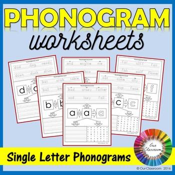 Spalding Phonogram Worksheets Single Letter Phonograms By Our