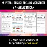 Phonics Spelling Worksheet - ɑː sound spelled AR