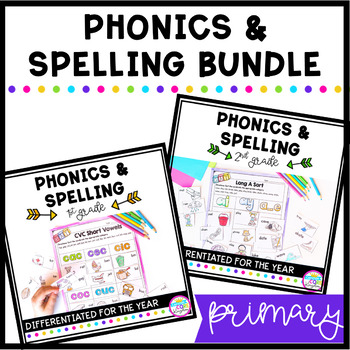 Phonics & Spelling for the Year 1st and 2nd Grade BUNDLE