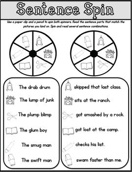 Phonics Sentence Spin: Consonant Blends and Double Consonants