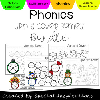 Phonics Spin and Cover Activities Bundle *includes editable bonus file*