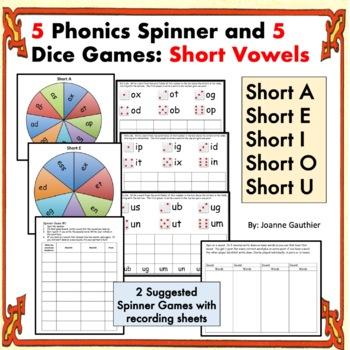 Phonics Spinner Games - Short Vowels