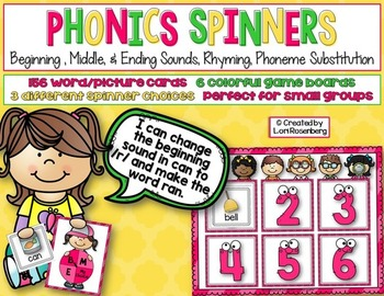 Phonics Spinners {BME Sounds, Rhyming, Phoneme Substitution}
