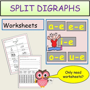 Phonics: Split Digraphs - 2 Sets of Worksheets