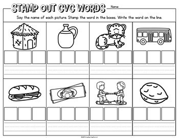 Phonics Worksheets for Stamping Centers