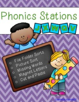 Phonics Stations: V, J, X, W, Q (last 5 consonants introduced by Saxon Phonics)