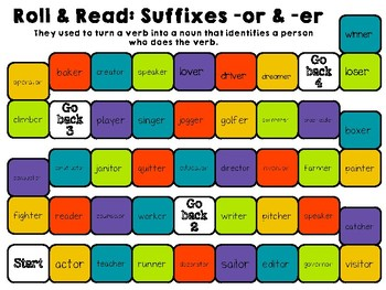Phonics: Suffixes -er and -or