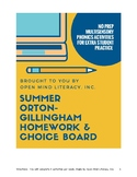 Phonics Summer Choice Board: Orton-Gillingham Friendly