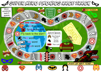 Phonics Superhero race track game - great fun !