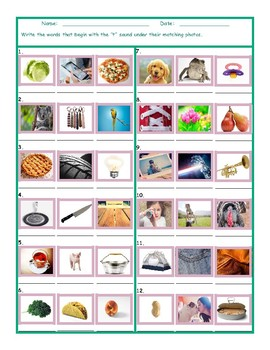 Phonics T Sound Photo Worksheet