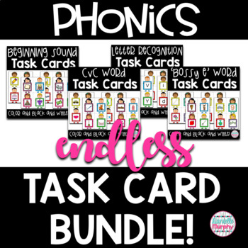 Phonics Task Card Endless Bundle--Kindergarten, First Grade