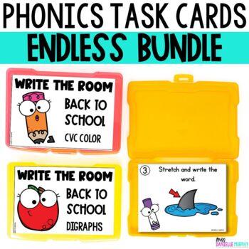 Phonics Task Card Endless Bundle for Kindergarten and First Grade