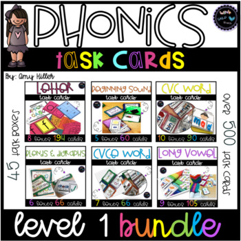 Phonics Task Card Level 1 [Task Box] Ultimate Bundle