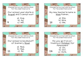 Phonics Task Cards Abbreviations