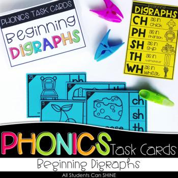 Phonics Task Cards - Beginning Digraphs