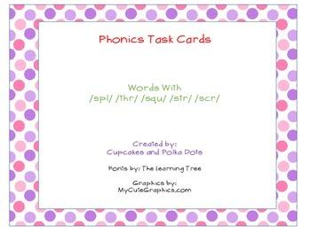 Phonics Task Cards Blends (Tri)