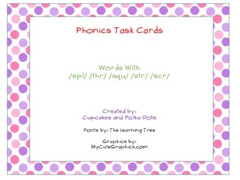 Phonics Task Cards Blends (Tri)