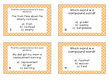 Phonics Task Cards Compound Words