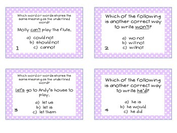 Phonics Task Cards Contractions