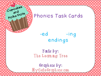 Phonics Task Cards Ending -ing and -ed