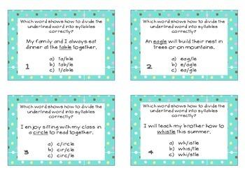 Phonics Task Cards Final Syllable -le