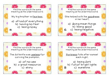 Phonics Task Cards Final Syllables -ness, -less, -able, -ible