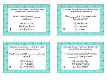 Phonics Task Cards Final Syllables -tion, -ture, -ion