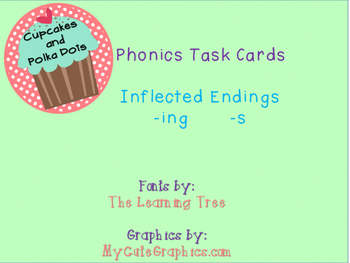 Phonics Task Cards Inflected Endings -s -ing