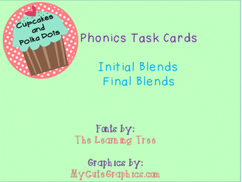 Phonics Task Cards Initial and Final Blends