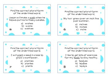 Phonics Task Cards Plural Words -es -s -ies