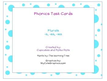 Phonics Task Cards Plural Words -es -s -ies