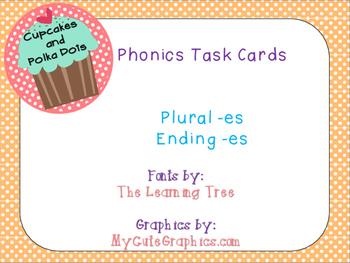 Phonics Task Cards Plural -es and Ending -es