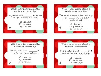 Phonics Task Cards Prefixes