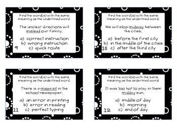 Phonics Task Cards Prefixes mis-, mid-, non-