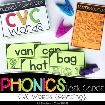 Phonics Task Cards - Reading CVC Words