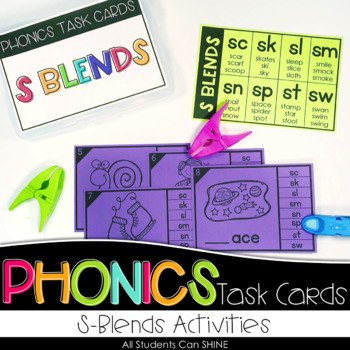 Phonics Task Cards - S Blends