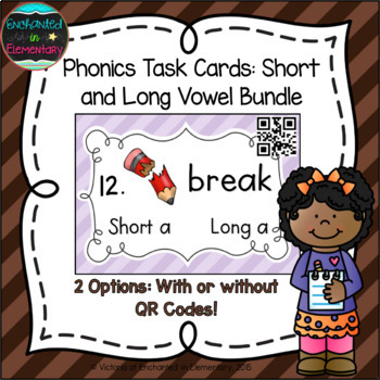 Phonics Task Cards: Short and Long Vowel Bundle