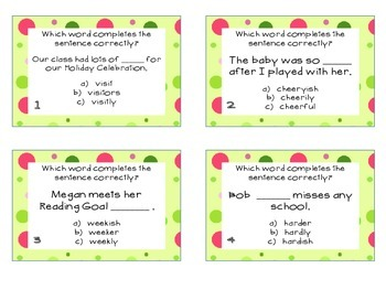 Phonics Task Cards- Suffixes